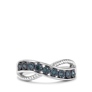 Blue Diamond Ring in Sterling Silver 0.14ct