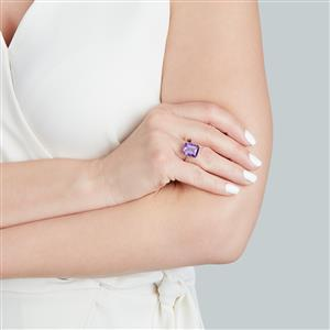 Zambian Amethyst Ring with White Zircon in 9K Gold 5.48cts