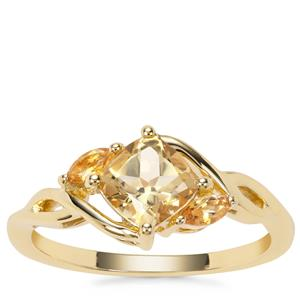 Xia Heliodor Ring with Diamantina Citrine in 9K Gold 1cts