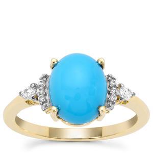 Sleeping Beauty Turquoise & White Zircon 9K Gold Ring ATGW 2.73cts