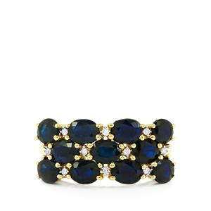 Australian Blue Sapphire & Diamond 10K Gold Ring ATGW 3.71cts