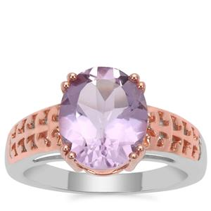 Rose De France Amethyst Ring in Two Tone Rose Gold Plated Sterling Silver 4cts