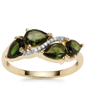Chrome Tourmaline Ring with Diamond in 9K Gold 1.31cts