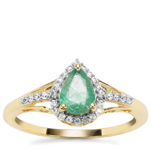 Zambian Emerald Ring with White Zircon in 9K Gold 0.85ct
