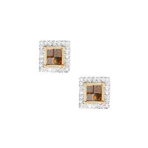 1/2ct Red & White Diamond 9K Gold Earrings
