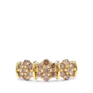 1ct Natural Champagne Diamond 9K Gold Ring