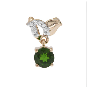 Chrome Diopside Pendant with White Zircon in 9K Gold 0.74ct