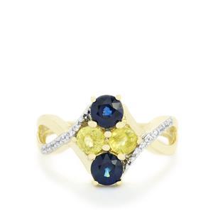 Sri Lankan Sapphire, Ambilobe Sphene & White Zircon 9K Gold Ring ATGW 1.61cts