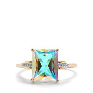 Mercury Mystic Topaz & Diamond 10K Gold Ring ATGW 3.85cts