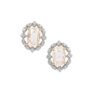 Rose Cut Ratanakiri Zircon Earrings in 9K Gold 1.20cts