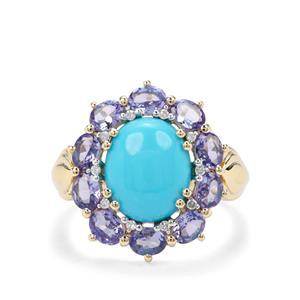 Sleeping Beauty Turquoise, AA Tanzanite & Diamond 9K Gold Ring ATGW 4.61cts
