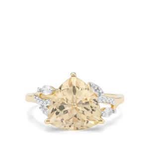 Serenite & White Zircon 9K Gold Ring ATGW 4.13cts