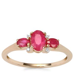 Montepuez Ruby Ring with Diamond in 10K Gold 0.85ct
