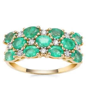 Colombian Emerald Ring with White Zircon in 9K Gold 2.06cts