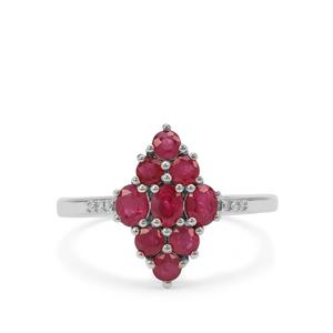 Burmese Ruby & Diamond 9K White Gold Ring ATGW 1.27cts