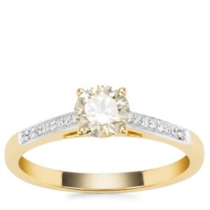 Natural Yellow Diamond Ring with White Diamond in 18K Gold 0.60ct