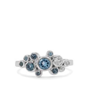 London Blue Topaz, Swiss Blue Topaz & White Zircon Sterling Silver  Ring ATGW 0.88cts
