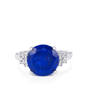 Sar-i-Sang Lapis Lazuli & White Topaz Sterling Silver Ring ATGW 4.50cts
