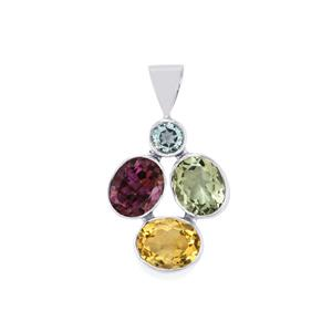 Kaleidoscope Gemstones Pendant in Sterling Silver 11.50cts