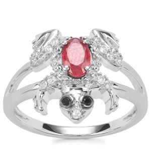 Malagasy Ruby, Black Spinel Ring with White Zircon in Sterling Silver 0.97cts (F)