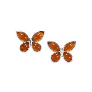 American Fire Opal Earrings in Sterling Silver 3.74cts