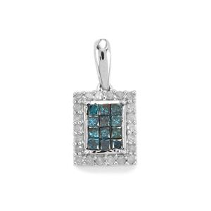 1/2ct Blue & White Diamond 9K White Gold Pendant