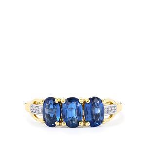 Daha Kyanite & White Zircon 10K Gold Ring ATGW 1.84cts