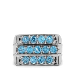 3.25ct Swiss Blue Topaz Sterling Silver Ring