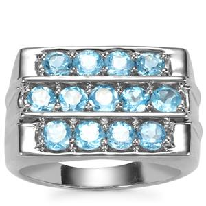 Swiss Blue Topaz Ring in Sterling Silver 3.25cts