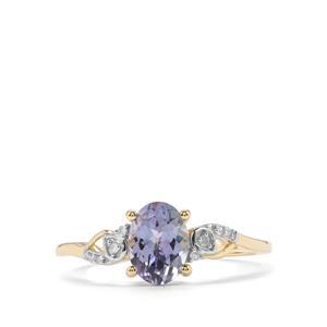 Bi Colour Tanzanite & Diamond 10K Gold Ring ATGW 1.09cts