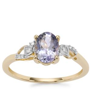 Bi Colour Tanzanite Ring with Diamond in 9K Gold 1.09cts