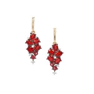Songea Ruby, Pink Tourmaline & White Zircon 9K Gold Earrings ATGW 2.72cts