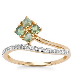 Orissa Alexandrite Ring with Diamond in 9K Gold 0.52cts