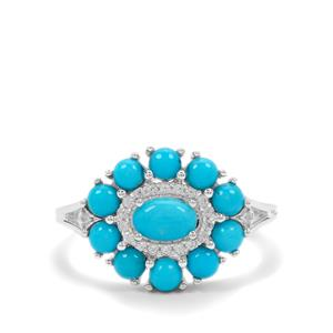 Sleeping Beauty Turquoise Ring with White Zircon in Sterling Silver 1.70cts