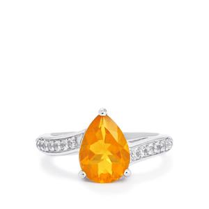 Honey American Fire Opal & White Topaz Sterling Silver Ring ATGW 2.14cts