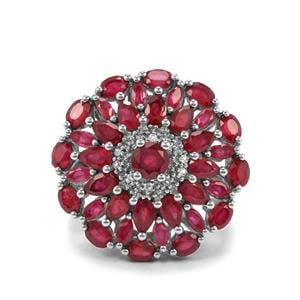Malagasy Ruby & White Topaz Sterling Silver Ring ATGW 9.60cts (F)