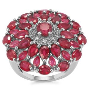 Malagasy Ruby Ring with White Topaz in Sterling Silver 9.60cts (F)