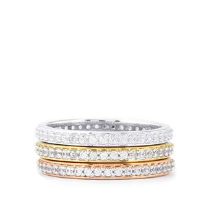 1.76ct White Zircon Sterling Silver Set of 3 Stacker Rings