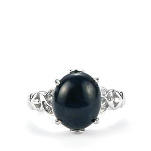 Madagascan Blue Star Sapphire & White Topaz Sterling Silver Ring ATGW 7.93cts