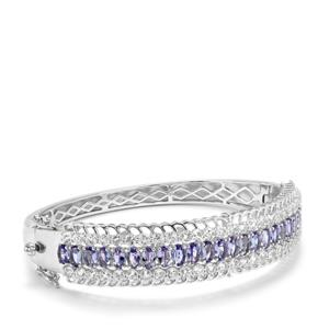Tanzanite Oval Bangle with White Topaz in Sterling Silver 11.33cts