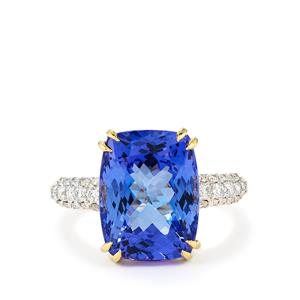 AA Tanzanite Ring with Diamond in 18K Gold 8.88cts