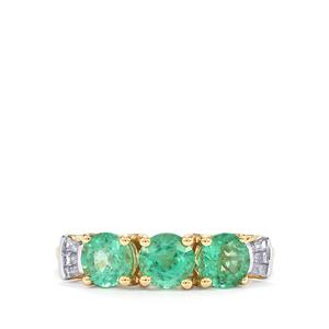 Ethiopian Emerald Ring with Diamond in 18K Gold 1.37cts