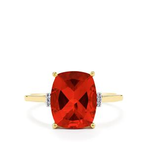 Tarocco Red Andesine Ring with Diamond in 10k Gold 2.96cts