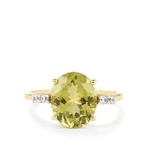 Ilakaka Natural Green Apatite & White Zircon 9K Gold Ring ATGW 4.00cts
