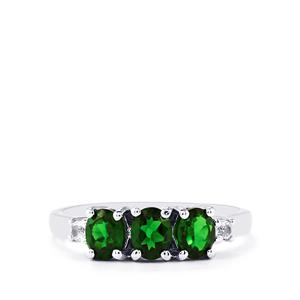 Chrome Diopside Ring with White Topaz in Sterling Silver 1.18cts