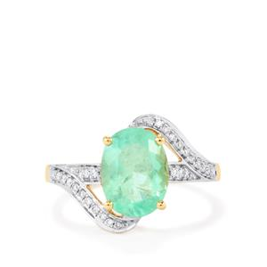 Colombian Emerald Ring with Diamond in 18K Gold 3cts