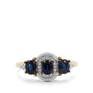 Nigerian Blue Sapphire & White Zircon 9K Gold Ring ATGW 1.09cts