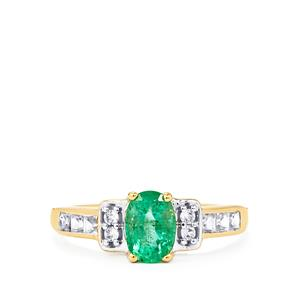 Zambian Emerald Ring with White Zircon in 10k Gold 1.21cts