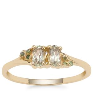 Csarite® Ring with Green Diamond in 9K Gold 0.50ct