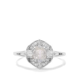 Ratanakiri & White Zircon Sterling Silver Ring ATGW 1.29cts